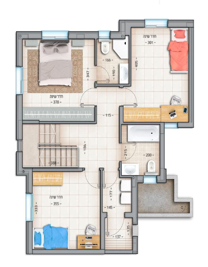 דגם רביעיות דירה מס' 4 קומה א' 76 מטר נווה צוף