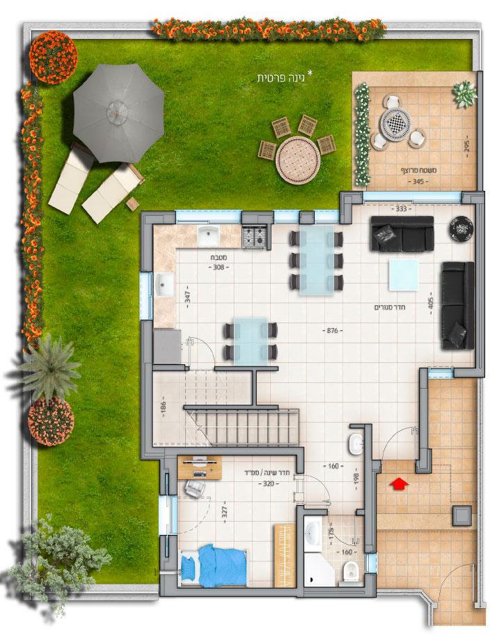 דגם רביעיות דירה מס' 4 קרקע 76 מטר נווה צוף