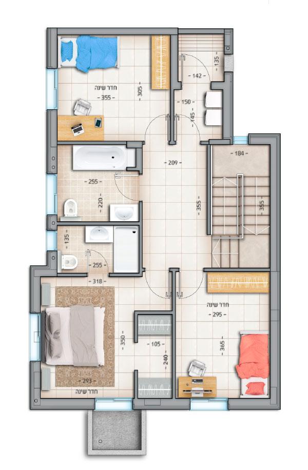 דגם רביעיות דירה מס' 2 קומה א' 69 מטר נווה צוף