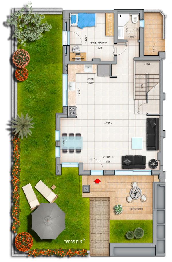 דגם רביעיות דירה מס' 2 קרקע 78 מטר נווה צוף