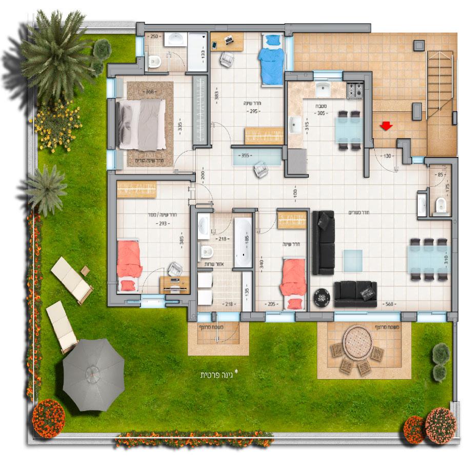 דגם שישיות דירה מס' 1 קומת קרקע 118 מטר נווה צוף